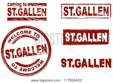 Set of stylized ink stamps showing the city of St. Gallen