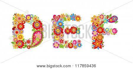 Floral alphabet with letter D, E, F