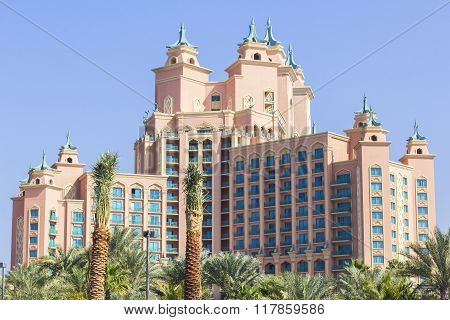 background landscape hotel Atlantis in the Palm in Dubai