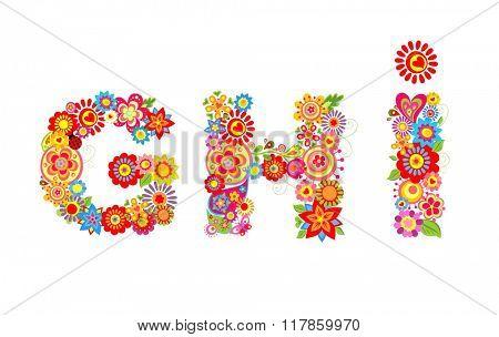 Floral alphabet with letter G, H, I