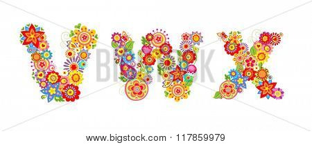 Floral alphabet with letter V, W, X