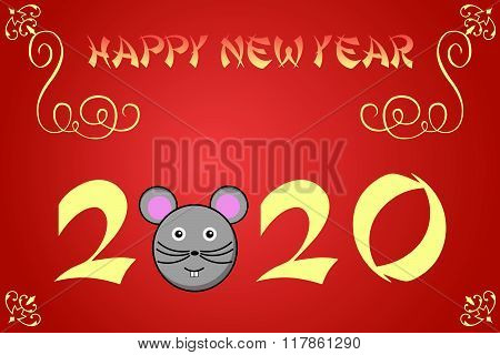 Happy Chinese New Year Card Illustration For 2020