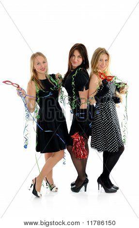 Group Of Three Beautiful Elegant Woman Celebrating . Isolated On White Background