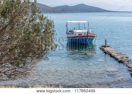 Fishing boats on the Elounda coast of The Crete.Greece 19.09.2015.
