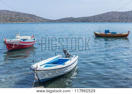 Fishing boats on the Elounda coast of The Crete. Greece 19.09.2015.