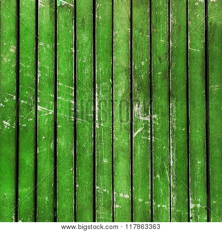 Bright Green Wooden Timber / Scuffed Planks Background Texture.