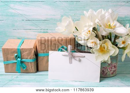 Narcissus Flowers , Empty Tag For Text , Boxes With Presents