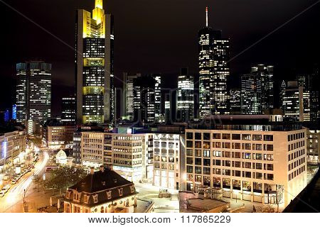 View over Hauptwache with the skyline of Frankfurt in the background