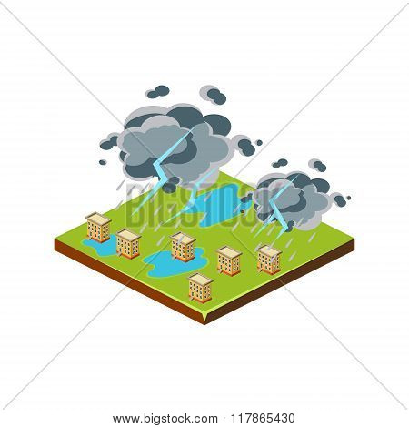 Thunderstorm. Natural Disaster Icon. Vector Illustration