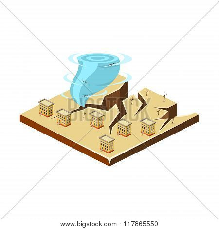Earthquake and Tornado. Natural Disaster Icon. Vector Illustration