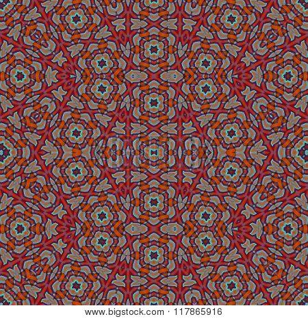 Seamless intricate pattern red orange gray