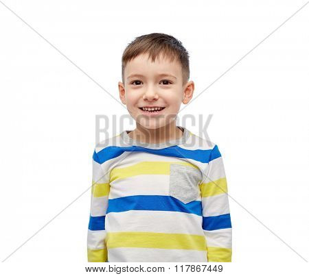 childhood, fashion, advertisement and people concept - happy smiling little boy