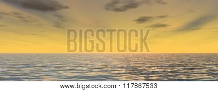 Concept or conceptual sunset or sunrise background with the sun close to horizon and sea or ocean banner