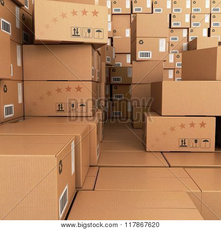 Many Stacks Of Cardboard Boxes, Industrial Background.