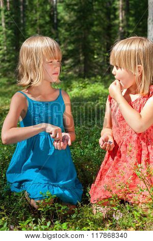 Two little girls wearing blue and red summer dresses picking and eating blueberries in a forest looking to each other
