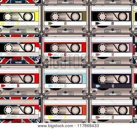Creative Hipster Background With Hand Sketched Cassettes Retro