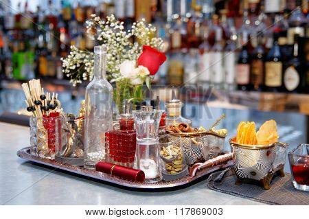 Stuff used for decorating cocktails on bar counter