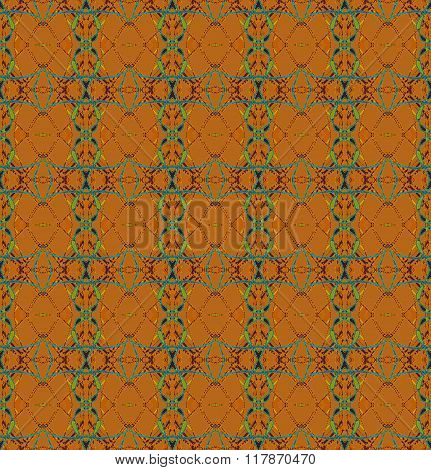 Seamless ellipses and diamond pattern orange brown green