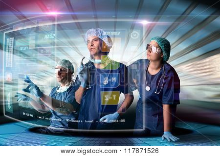Doctor's Team With Screens