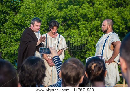Historical reenactment of slave trade in Ancient Rome