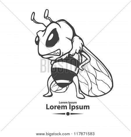 bee logo angry