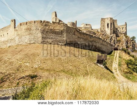 Beckov Castle Ruins, Dried Grass In The Meadow, Slovakia