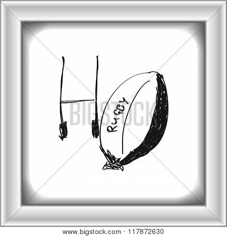 Simple Doodle Of A Rugby Ball