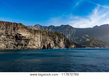 Magnificent cliffs and God's Finger (Dedo de Dios) near Puerto de las Nieves, Gran Canaria, Spain