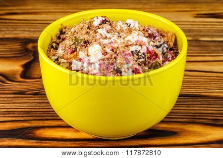 Sweet Cottage Cheese Dessert With Raspberry Jam, Nuts, Raisins, Candied, Grated Chocolate In Bowl On