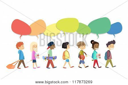 Children Group Walking Go With Colorful Chat Box Social Communication Isolated