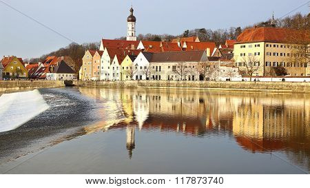 LANDSBERG AM LECH, GERMANY - MARCH 17, 2012: Panorama of ancient historic medieval old town with Lec