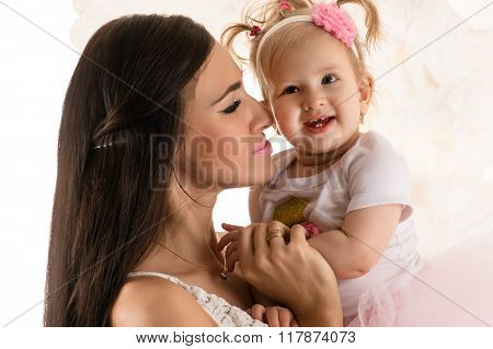 beautiful profile face woman with daughter