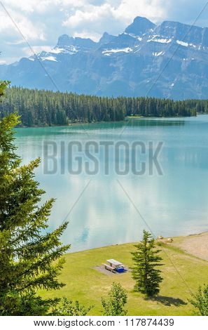 Majestic mountain lake in Canada. Two Jacks Lake. Banff. Alberta.