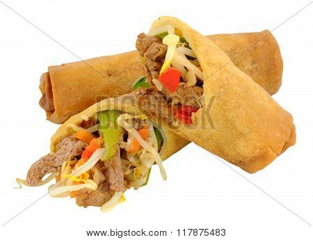 Beef And Vegetable Filled Chinese Rolls
