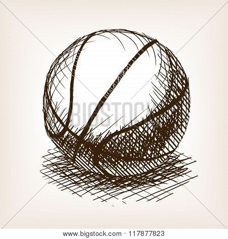 Basketball hand drawn sketch style vector