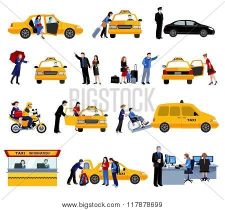 Set Of Taxi Service Icons