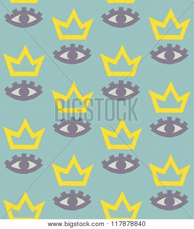 Vector Pattern Of Eyes And Crowns On Turquoise Background
