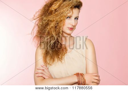 Beautiful Woman With Curly Blond Hair