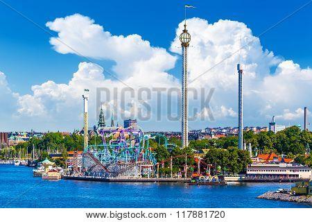 Amusement park Grona Lund on Djurgarden island in Stockholm, Sweden