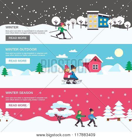 Winter Season 3 Flat Banners Set