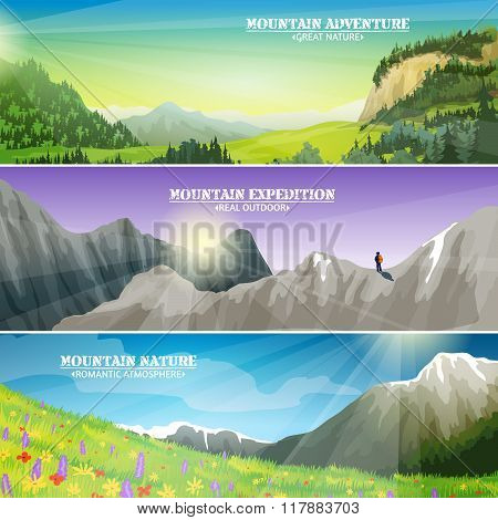 Mountains Landscape Flat Horizontal Banners Set