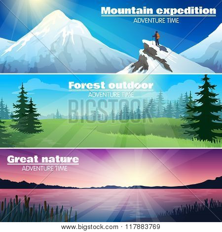 Camping Outdoor Nature Horizontal Banners Set