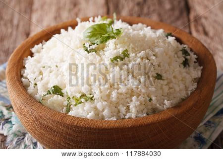 Paleo Food: Cauliflower Rice With Herbs Close-up. Horizontal