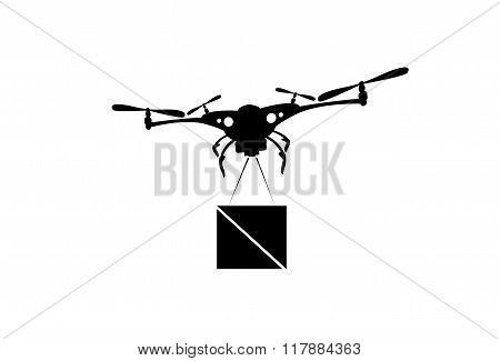 Drone Flying Delivery Air Package Shipment Carry Quadrocopter Isolated Logo