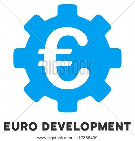 Euro Development Flat Icon with Caption