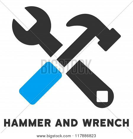 Hammer And Wrench Flat Icon with Caption