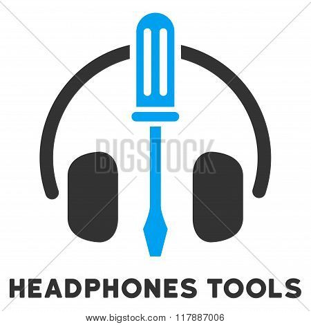 Headphones Tools Flat Icon with Caption