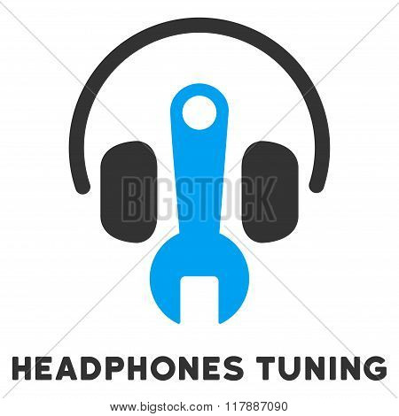 Headphones Tuning Flat Icon with Caption