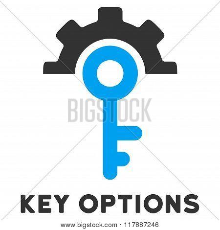 Key Options Flat Icon with Caption