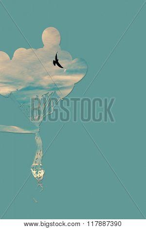 heavenly balloons and bird composite photo